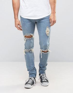 Liquor N Poker Рваные джинсы скинни с молниями. Цвет: синий