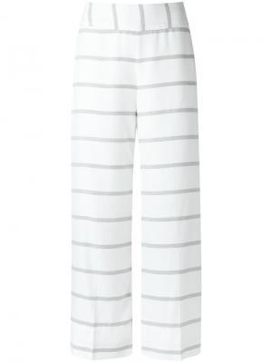 Укороченные полосатые брюки Tufi Duek. Цвет: белый