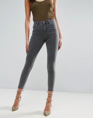 ASOS Серые джинсы скинни с завышенной талией RIDLEY. Цвет: серый