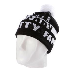 Шапка с помпоном  Swagger Fam Black/White Flat Fitty. Цвет: черный,белый