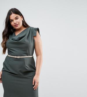 Closet London Plus Платье-футляр со свободным воротом. Цвет: зеленый