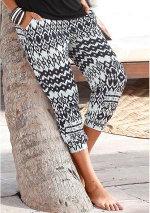 Пляжные брюки 7/8 Lascana. Цвет: с рисунком, черный