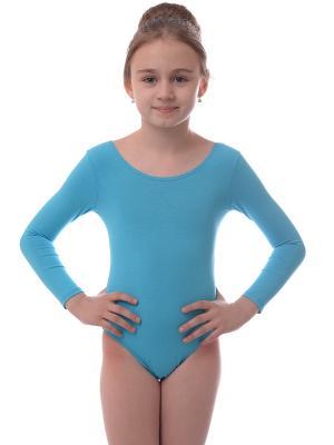 Гимнастический купальник EMDI. Цвет: лазурный, голубой