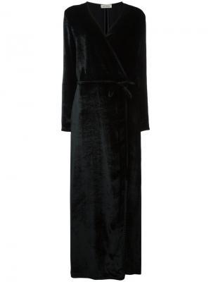 Платье с V-образным вырезом запахом Attico. Цвет: чёрный