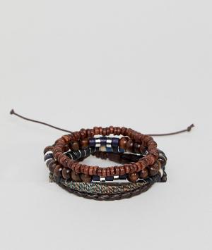 ASOS Набор браслетов из кожи и бусин. Цвет: коричневый