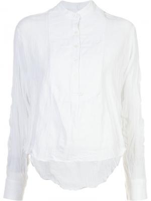 Рубашка с мятым эффектом и воротником-мандарин Derek Lam 10 Crosby. Цвет: белый