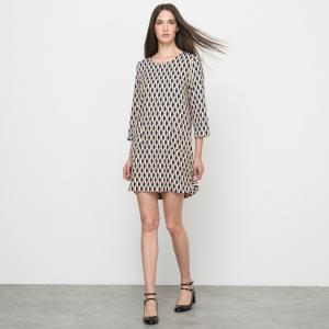 Платье с рисунком и рукавами 3/4 SUNCOO. Цвет: набивной рисунок