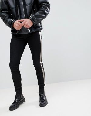 ASOS Черные выбеленные джинсы скинни с серебристыми полосками. Цвет: черный