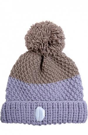 Шерстяная шапка крупной вязки с помпоном 7II. Цвет: голубой