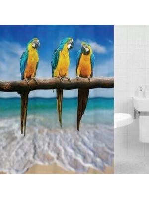 Штора для ванной PARROTS (Попугаи) HOT Print 180*200 Bath Plus. Цвет: синий, желтый, морская волна