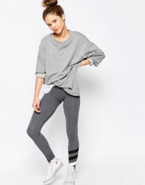 SUNDRY Спортивные брюки скинни с полосками. Цвет: серый