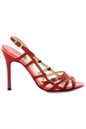 Босоножки на каблуках Luciano Padovan. Цвет: красный