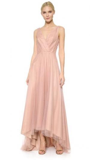 Асимметричное платье из тюля Monique Lhuillier Bridesmaids. Цвет: ракушка