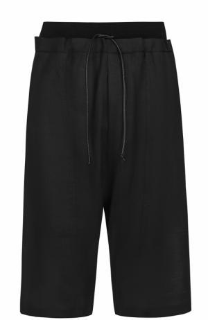 Льняные шорты свободного кроя с заниженной линией шага Isabel Benenato. Цвет: черный