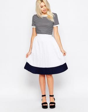 The WhitePepper Плиссированная юбка миди. Цвет: белый