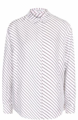 Шелковая блуза с контрастной отделкой Carven. Цвет: голубой