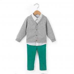Комплект из 3 предметов  1 мес - лет R mini. Цвет: серый меланж/зеленый