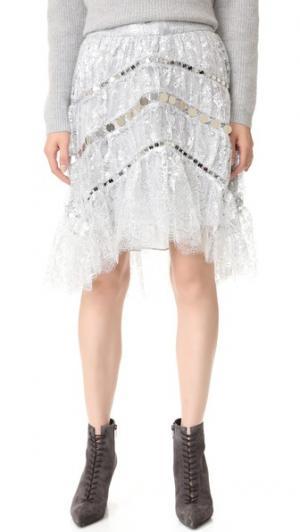 Кружевная мини-юбка Adorn, украшенная кристаллами Zimmermann. Цвет: голубой