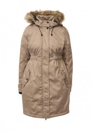 Куртка утепленная Mamalicious. Цвет: бежевый