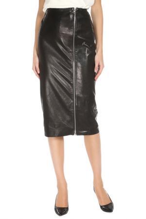 Кожаная юбка с застежкой на молнию ALICE STREET. Цвет: черный