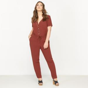 Комбинезон с брюками короткими рукавами CASTALUNA. Цвет: каштановый