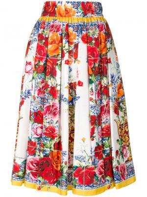 Юбка с принтом Majolica Dolce & Gabbana. Цвет: многоцветный