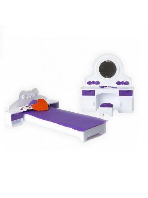 Набор мебели для спальни Конфетти Огонек. Цвет: темно-фиолетовый, белый