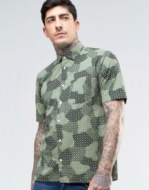 YMC Рубашка с короткими рукавами и принтом. Цвет: зеленый