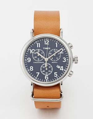 Timex Часы-хронограф в стиле милитари Weekender. Цвет: рыжий