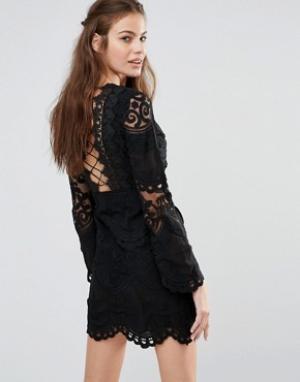 Foxiedox Кружевное платье мини с длинными рукавами. Цвет: черный