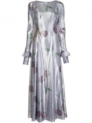 Длинное платье с принтом ягод Natasha Zinko. Цвет: серый