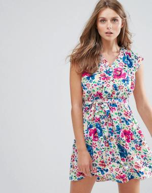 Anmol Платье с цветочным принтом. Цвет: синий