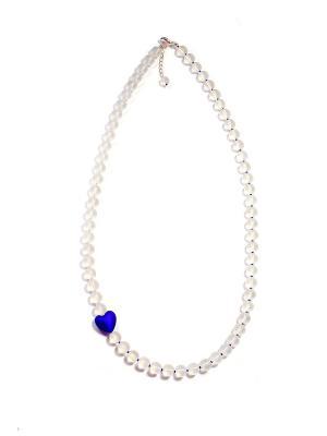 Ожерелье Cuori, синее Bottega Murano. Цвет: синий, белый, прозрачный