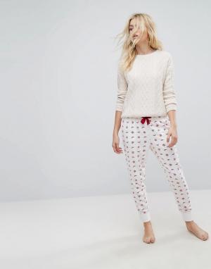 Hollister Пижамные брюки с логотипом. Цвет: белый
