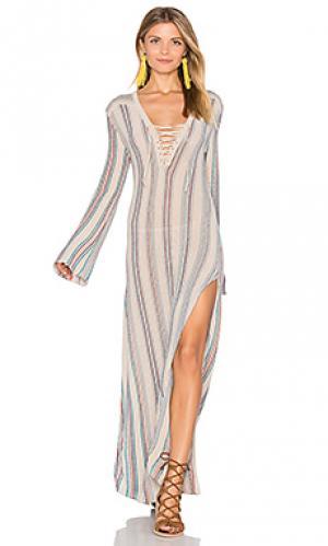 Макси платье tulum Goddis. Цвет: серо-коричневый