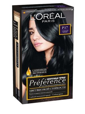 Стойкая краска для волос Preference, оттенок P17, Глубокий черный L'Oreal Paris. Цвет: черный