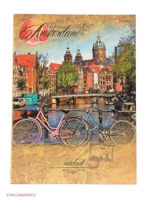 Путешествие по Амстердаму ТЕТРАДИ НА КОЛЬЦАХ СО СМЕННЫМИ БЛОКАМИ 160л. Канц-Эксмо. Цвет: бежевый, красный