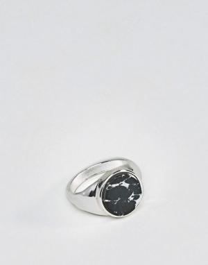 Chained & Able Кольцо-печатка с камнем. Цвет: серебряный