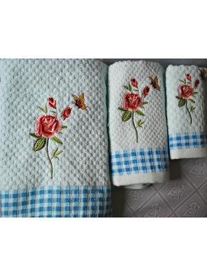 Комплект полотенец РОЗЫ,  3 предмета, 30х70, 50х70,70х140 La Pastel. Цвет: голубой