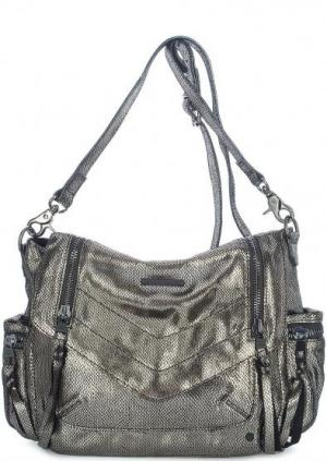 Кожаная сумка со съемным ремнем Tyoulip Sisters. Цвет: серебряный
