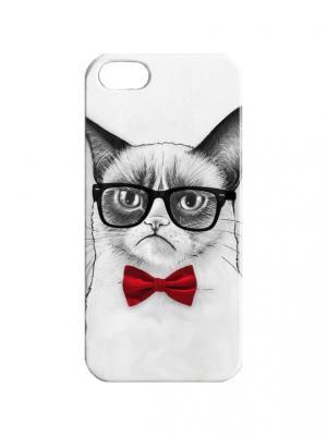 Чехол для iPhone 5/5s Недовольный кот в красной бабочке Арт. IP5-312 Chocopony. Цвет: белый, красный