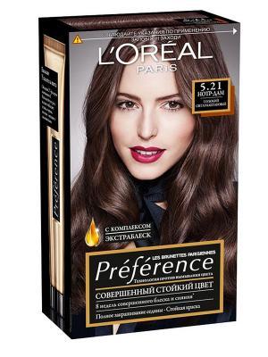 Стойкая краска для волос Preference, с комплексом Экстраблеск, оттенок 5.21, Нотр-Дам L'Oreal Paris. Цвет: антрацитовый