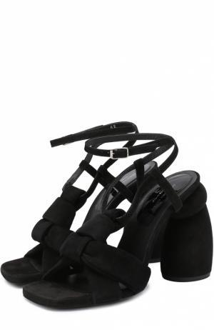 Замшевые босоножки на фигурном каблуке Dries Van Noten. Цвет: черный