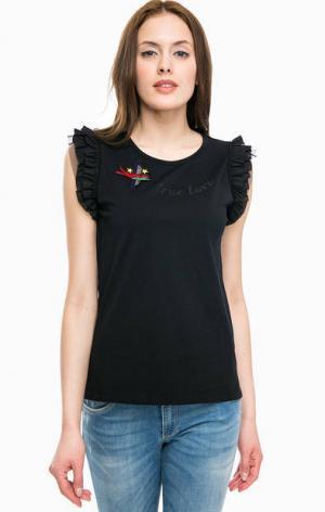 Хлопковая футболка черного цвета Kocca. Цвет: черный