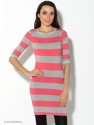 Платье Oodji. Цвет: серый меланж, розовый