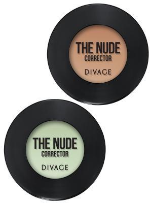 Набор №114 корректор для лица кремовый concealer the nude тон 03,04 DIVAGE. Цвет: светло-бежевый, светло-зеленый