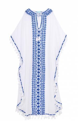Туника с декоративными кистями и контрастной вышивкой Melissa Odabash. Цвет: белый