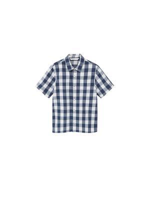 Рубашка Mango kids. Цвет: темно-синий