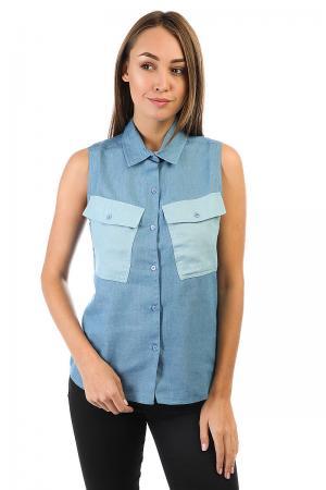 Рубашка женская  Tilted Denim Shirt Blue Stussy. Цвет: синий