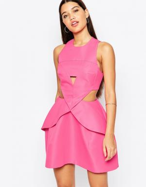 AQ Платье мини со складками спереди AQ/AQ Daria. Цвет: розовый